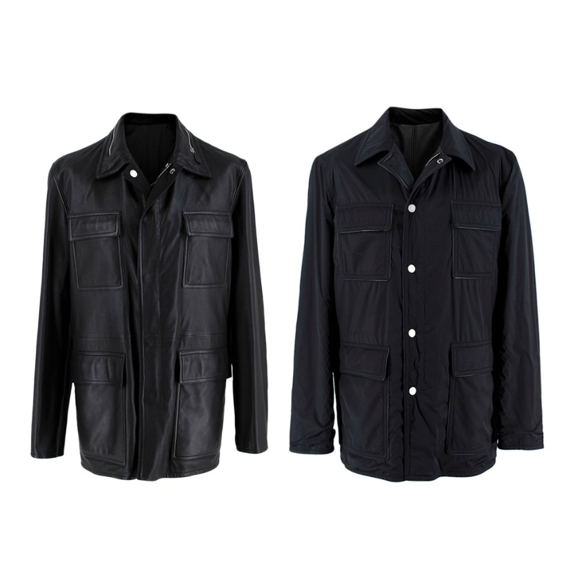 Hermes Black Lambskin and Nylon Reversible Jacket