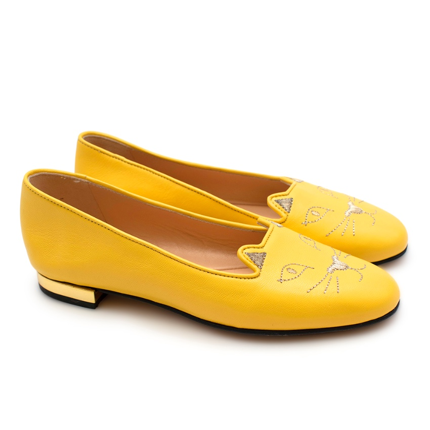 Charlotte Olympia Yellow Leather Kitty Flat Shoes - SIZE 34