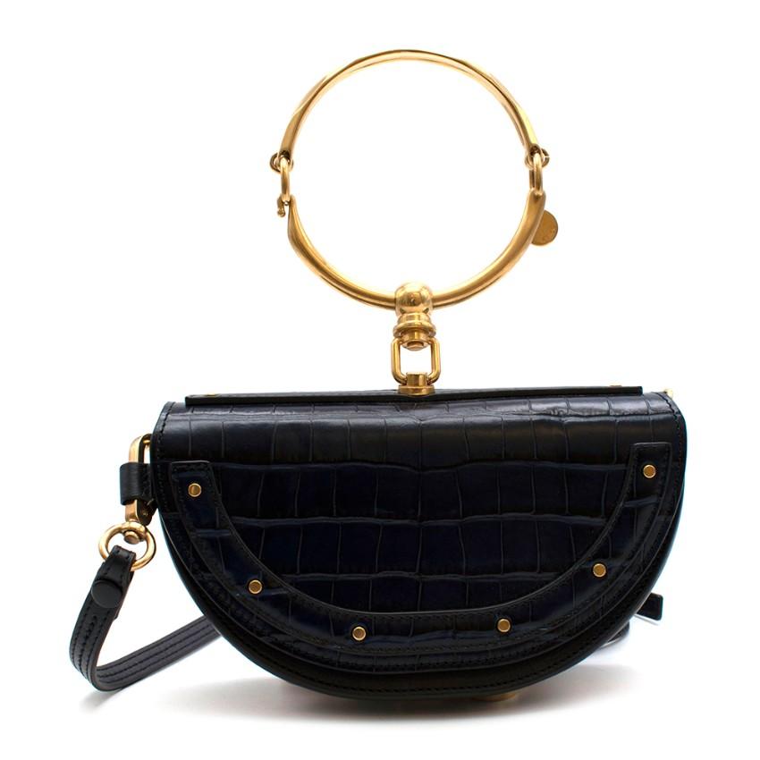 Chloe Navy Croc Leather Nile Minaudiere Crossbody Bag