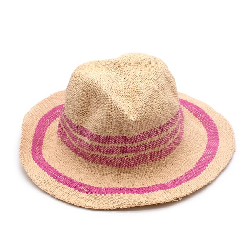 Bonpoint Pink Stripe Paper Straw Hat