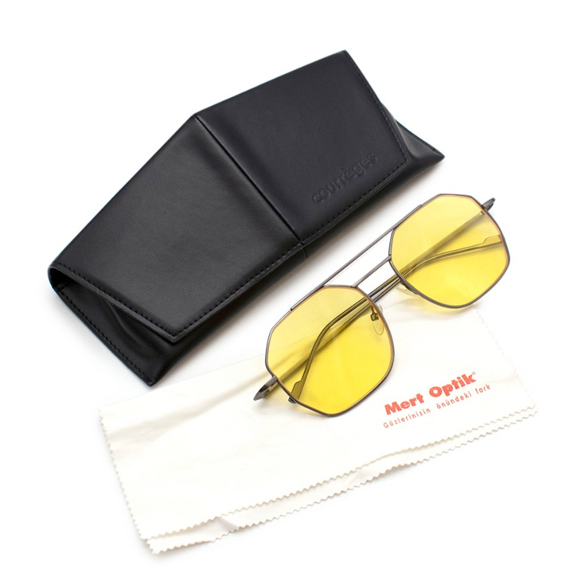Courreges Yellow CL1659 Gunmetal Geometric Sunglasses