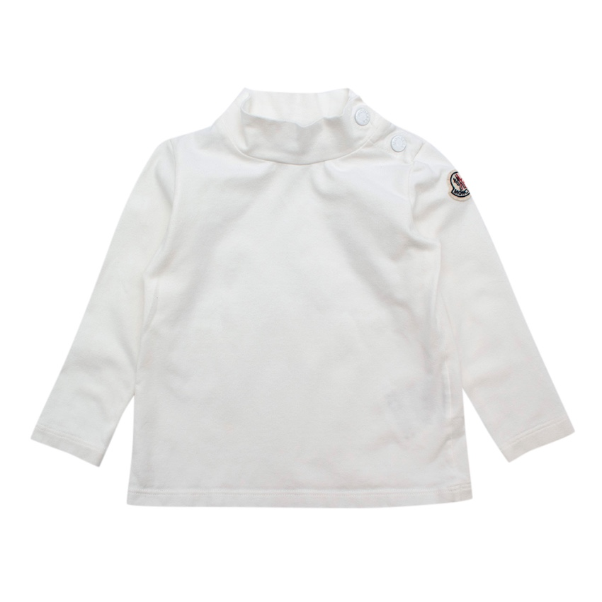 Moncler White Cotton Jersey Raised Neck Sweater