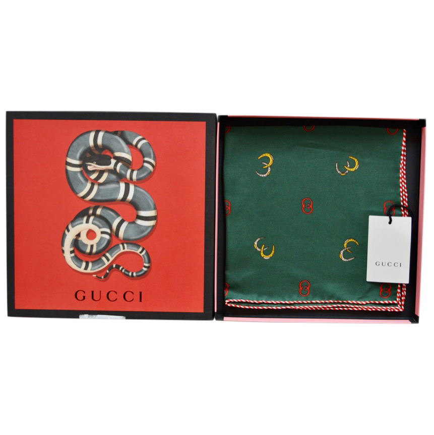 Gucci Green GG Horseshoe Print Pocket Square/Neck Tie