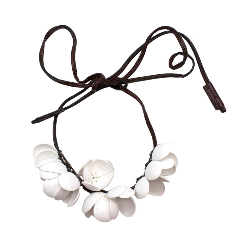 Marni x H&M White Floral Leather Tie Necklace/Belt