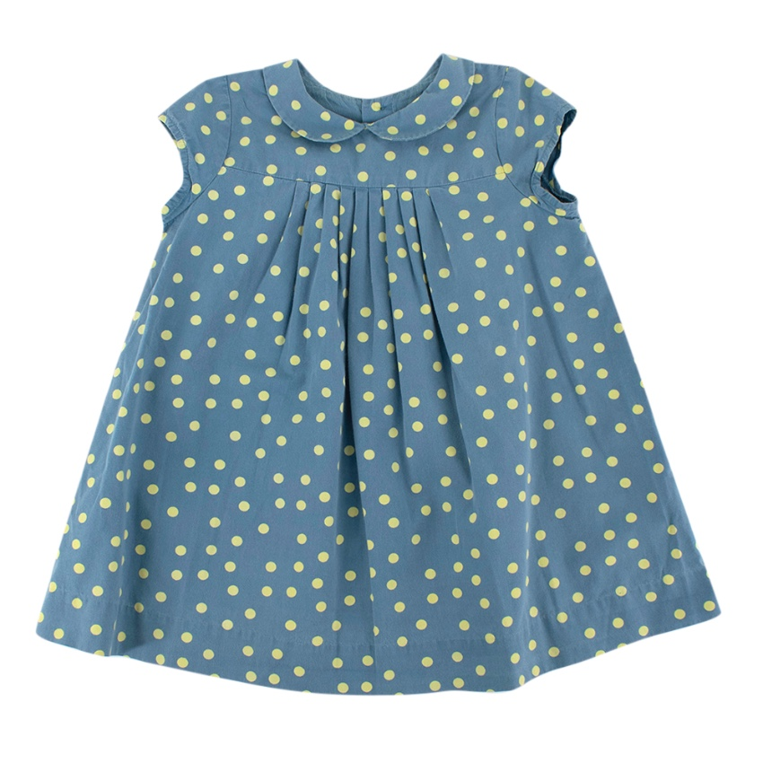 Bonpoint Blue & Green Polka Dot Cotton Pleated Dress