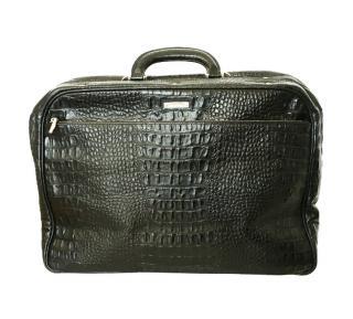 Baldinini black croc effect leather weekend bag/briefcase