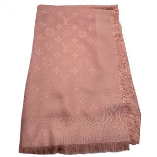 Louis Vuitton natural monogram shine silk and wool shawl/scarf
