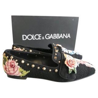 Dolce & Gabbana Woven Embellished Black Loafers