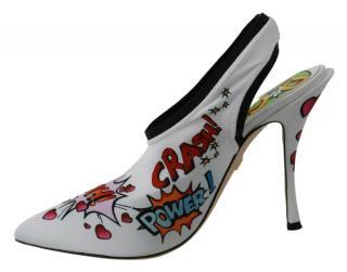 Dolce & Gabbana comic print stretch-jersey slingback pumps