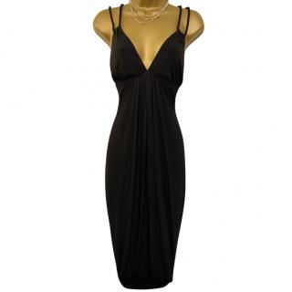 Yigal Azrouel Black Draped Cocktail Dress