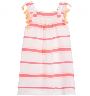 Sunuva Girls white & pink striped cotton sundress