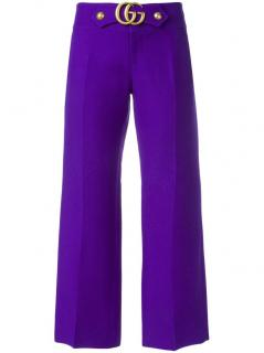 Gucci GG Marmont Purple Wool Kick-Flare Trousers
