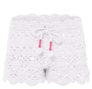 Sunuva Girls White with Pink Crochet Short
