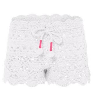 Sunuva Girls White with Pink Crochet Short