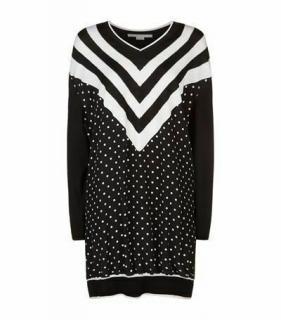 Stella McCartney Black & White Chevron Polka Dot Wool Jumper Dress