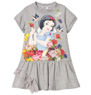 Monnalisa Grey Snow White Jersey Dress