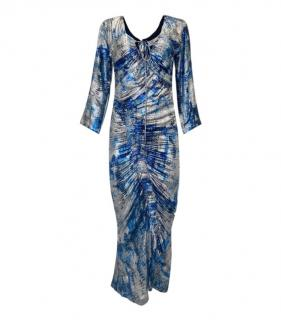 Preen By Thornton Bregazzi Metallic Blue/Silver Ruched Midi Dress