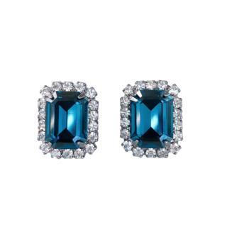 Kenneth Lane Blue Crystal Clip-On Earrings