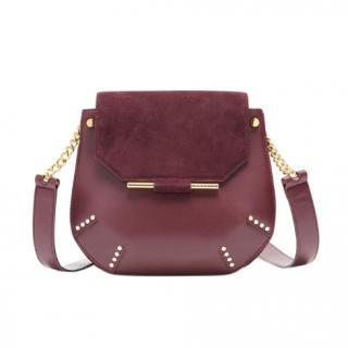Sandro Burgundy Leather & Suede Bonnie Shoulder Bag