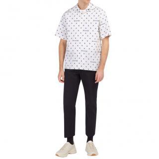 Gucci Men's White & Blue Star Print Bowling Shirt