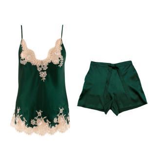 I.D. Sarrieri Green Lace Silk Camisole & Shorts Pyjama Set