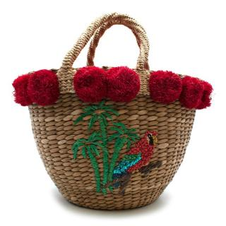 Serpui Parrot Embroidered Straw Basket Tote Handbag