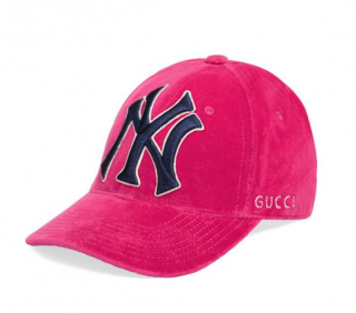 Gucci Fuchsia Velvet NY Yankees Cap