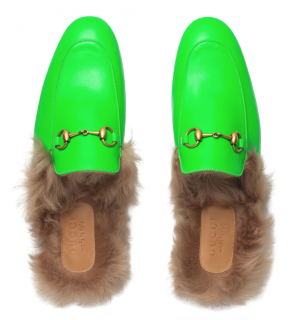 Gucci Green Princetown Fur-lined Fluorescent Leather Slippers