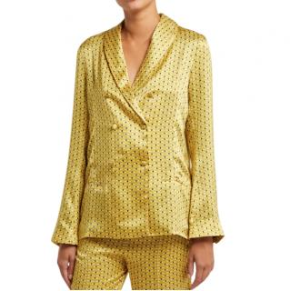 Asceno Yellow Geometric-Print Silk Double-Breasted Pyjama Jacket