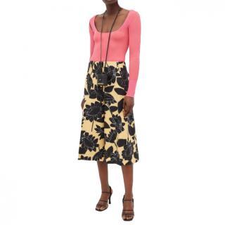 Jacquemus Black Yellow D'homme Floral-print Linen-blend Culottes