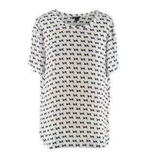 Theory White/Navy Arrow Pattern Silk Short-Sleeve Shirt