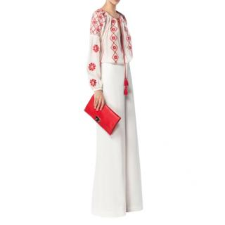 CH by Carolina Herrera White & Red Embroidered Blouse