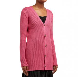 Loewe Long Line Ribbed Knit Wool Cardigan