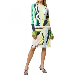Emilio Pucci Vallauris Print Embellished Belted Runway Dress