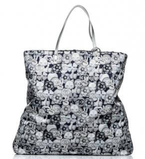 Chanel Cat Emoticon Grey Nylon Tote Bag