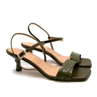 Dear Frances Green Croc Embossed Strappy Heeled Sandals