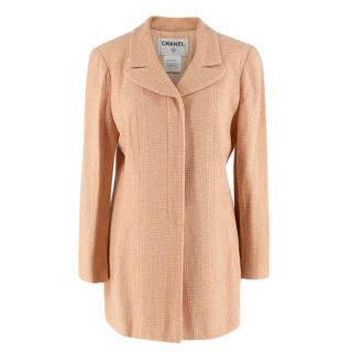 Chanel Peach Tweed Longline Tailored Button Down Jacket