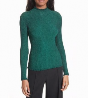 Milly Green Stardust Metallic Ribbed Sweater