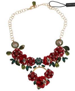 Dolce & Gabbana Rose Applique Chain Collar Necklace
