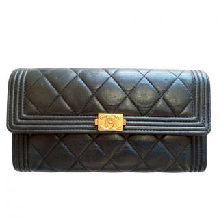 Chanel Black Quilted Lambskin Long Boy Flap Wallet
