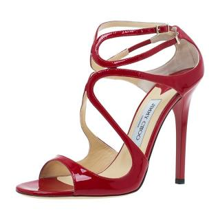 Jimmy Choo Red Patent Leather Lance Sandals