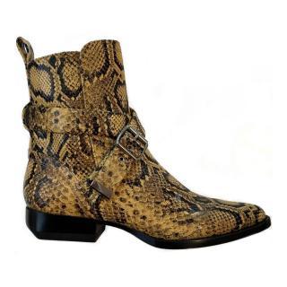 Chloe Yellow & Black Snakeskin Embossed Wrap Buckle Ankle Boots