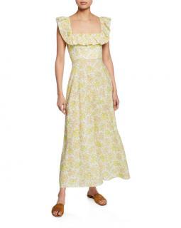 Zimmermann Yellow Floral Print Linen Goldie Dress