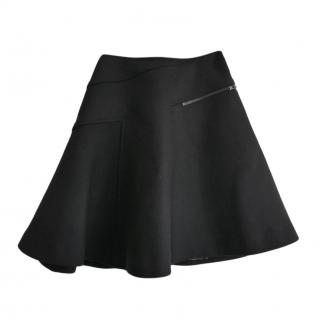 Alaia Black Wool Zipper Detail Mini Skater Skirt