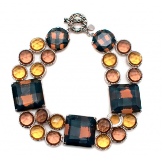Marc by Marc Jacobs Orange & Green Crystal Collar Necklace