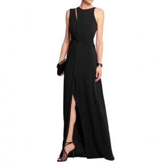 Halston Heritage Black Stretch Jersey Cut-Out Gown