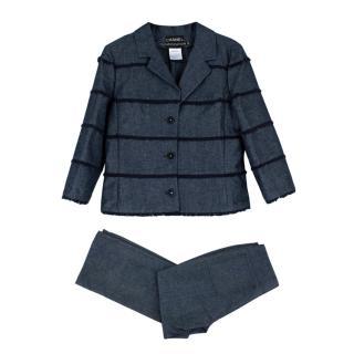 Chanel Identification Blue Denim Fringe Detail Trouser Suit