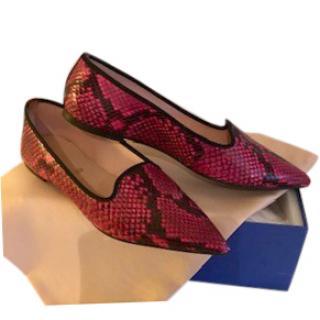 Pretty Ballerinas Pink Snakeskin Print Loafers