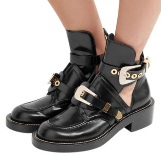 Balenciaga black glossed leather cut out booties