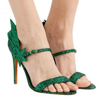 Rupert Sanderson Green Metallic Laminated Tweed Sandals